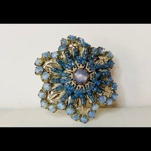 Vintage Miriam Haskell Light Blue Brooch Pin